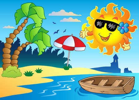 summer cartoon: Summer theme image 4 - vector illustration. Illustration