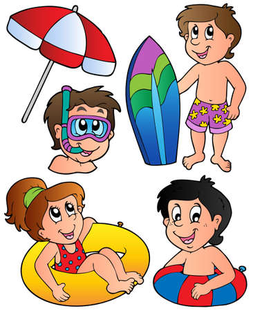 diving board: Swimming kids collection - vector illustration.