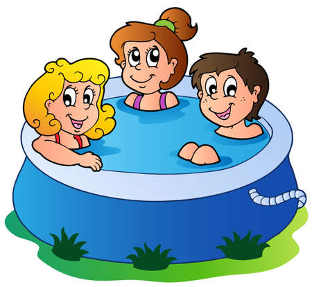 cartoon bathing: Three kids in pool - vector illustration.