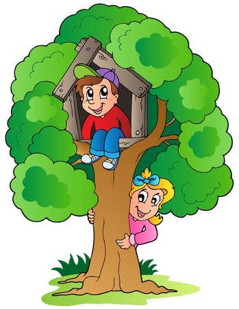 kids artwork: Tree with two cartoon kids - vector illustration.