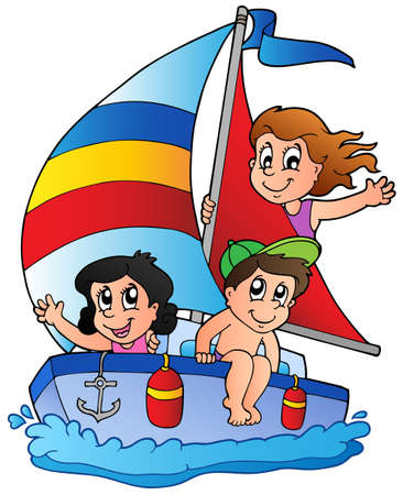 sailing vessel: Yacht with three kids - vector illustration.