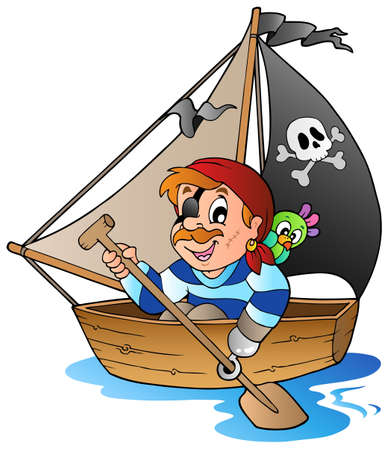 pirate boat: Young cartoon pirate 1 - vector illustration.