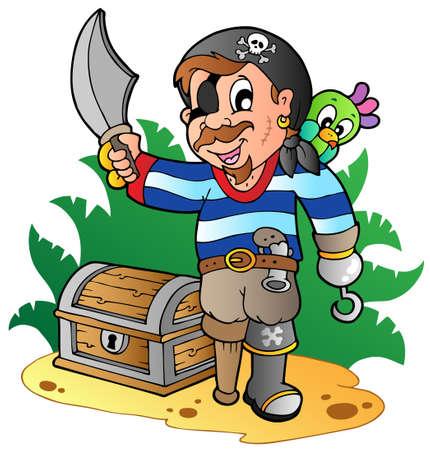 scar: Jonge piraat cartoon 2 - vector illustratie. Stock Illustratie