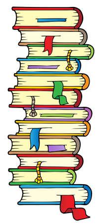 stapel papieren: Grote kolom van boeken Stock Illustratie