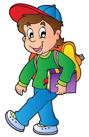 caminando: Chico de caricatura caminando a la escuela  Vectores