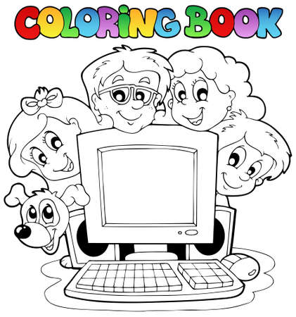 computer cartoon: Coloring book computer and kids  Illustration