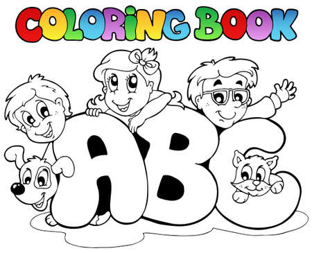 Coloring book school ABC letters Vector