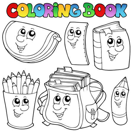 coloring book: Coloring book school cartoons Illustration