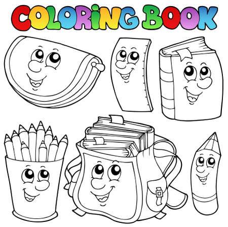 libro caricatura: Dibujos animados de escuela de libro para colorear Vectores