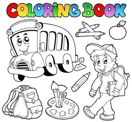 Caricatures de coloration du livre scolaire