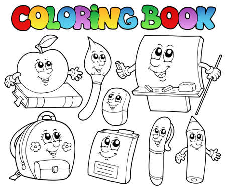 Coloring book school cartoons 5  Stock Vector - 10354151