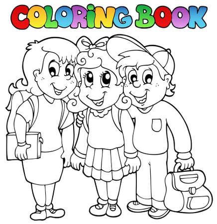 Dibujos animados de escuela de libro para colorear