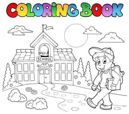 schoolhouse: Coloring book school cartoons