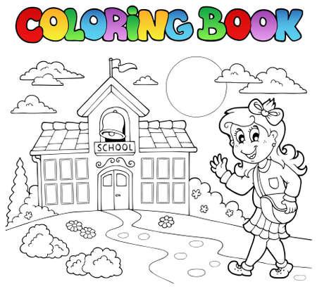 school house: Dibujos animados de escuela de libro para colorear  Vectores