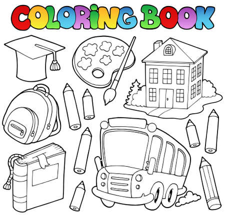 Coloring book school cartoons  Stock Vector - 10354165
