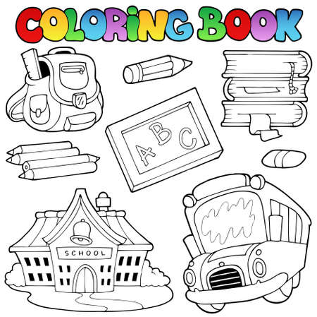 Coloring book school collection  Vector