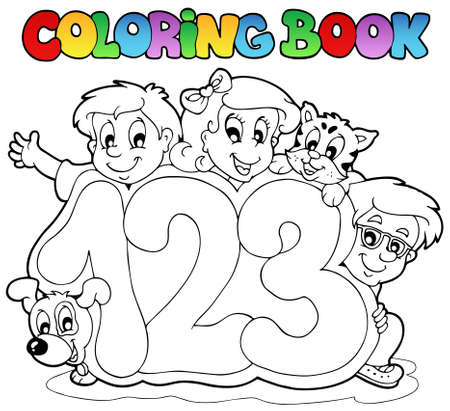 Coloring book school numbers  Vector