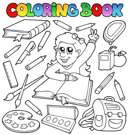 Coloring book school topic  Vector