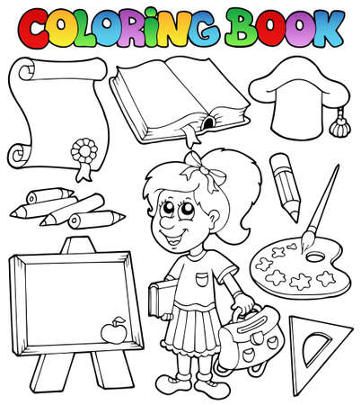 topic: Coloring book school topic