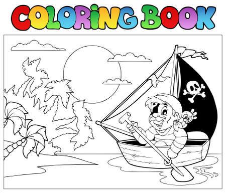Coloring book with pirate in boat   Vector