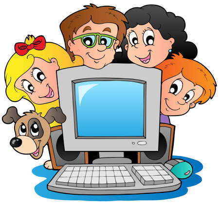 computer art: Computer with cartoon kids and dog