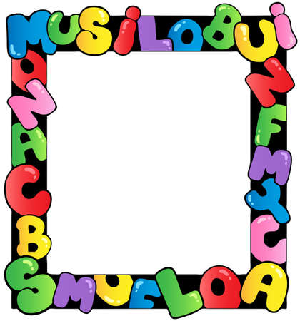 Frame with cartoon letters   Ilustracja