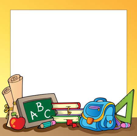 escuela primaria: Marco con material escolar 1  Vectores
