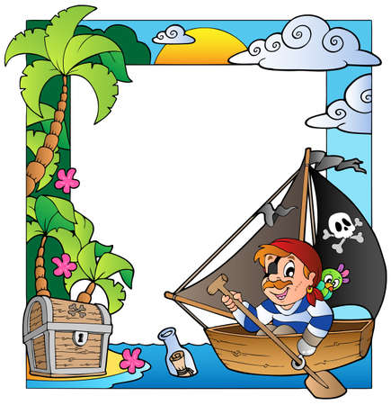 Frame with sea and pirate Vector