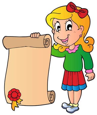 young schoolgirl: Girl holding diploma