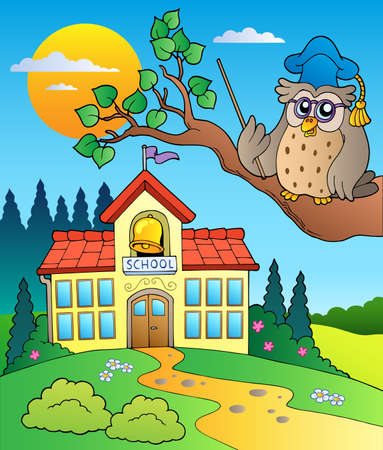 public schools: Owl teacher with school building