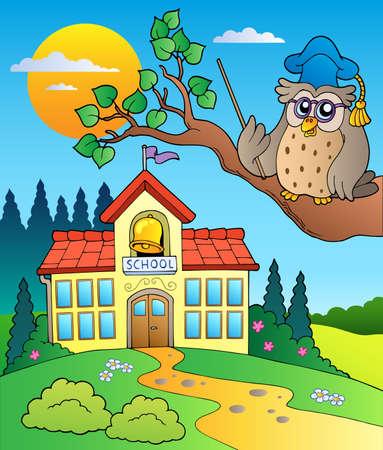 secondary education: Owl teacher with school building