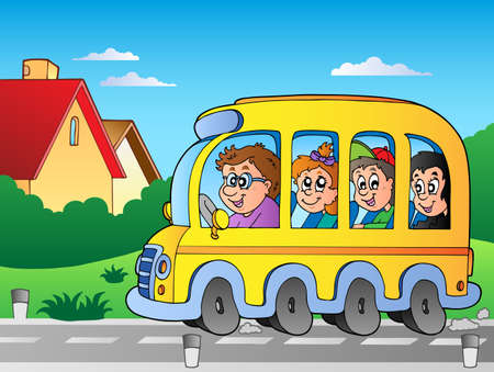Road with school bus   Vector