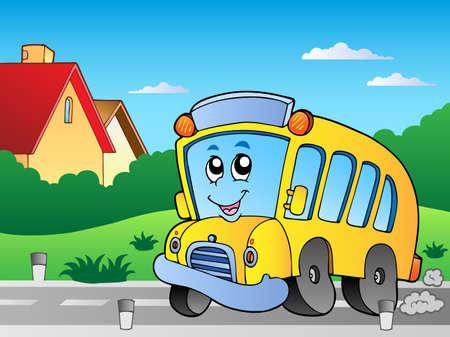 motorbus: Carretera con autob�s escolar 2  Vectores