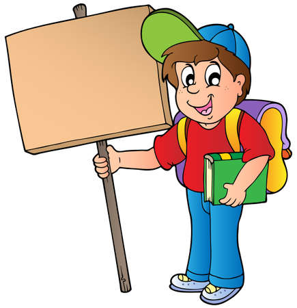 signboard: School boy holding wooden board