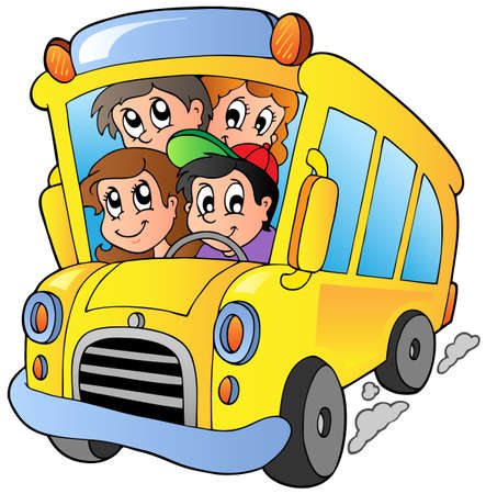 child of school age: School bus with happy children Illustration