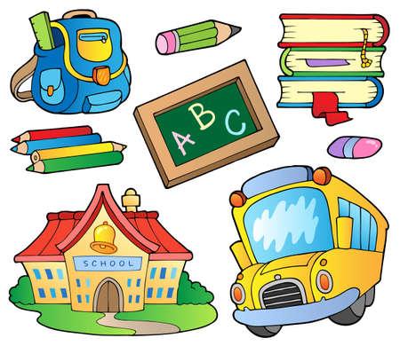 escuela caricatura: Colección de útiles escolares