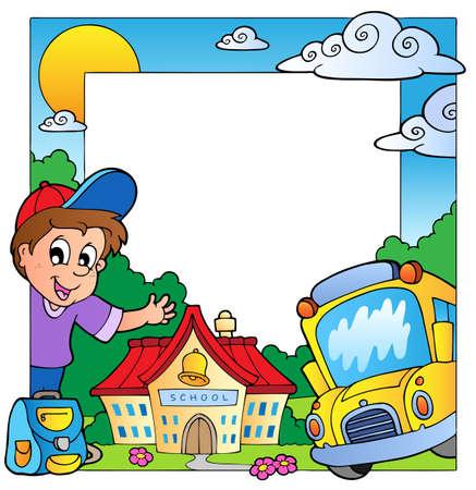 escuela caricatura: Marco de la escuela tema 1  Vectores