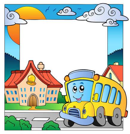 transporte escolar: Marco de la escuela tema 5  Vectores