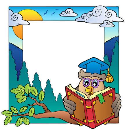 escuela caricatura: Marco de la escuela tema 8