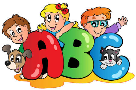cartoon school girl: School theme with ABC letters  Illustration
