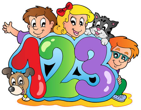 cartoon number: School theme with numbers