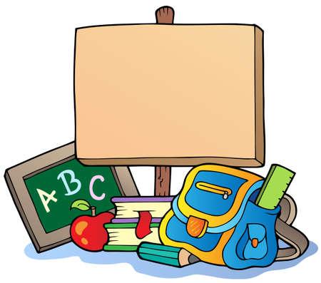 educativo: Tema de escuela con tabla de madera