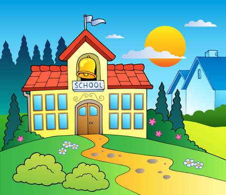 patio escuela: Tema con el edificio de la escuela grande