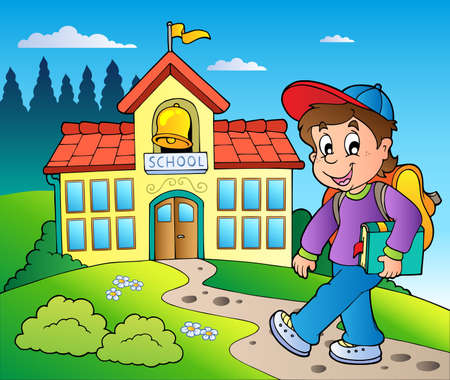 school building: Theme with boy and school building