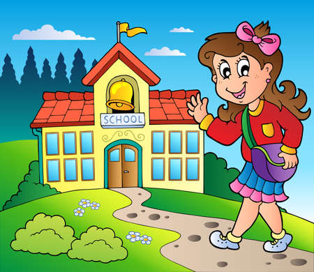 young schoolgirl: Theme with girl and school building