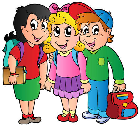 primary: Three happy school kids  Illustration
