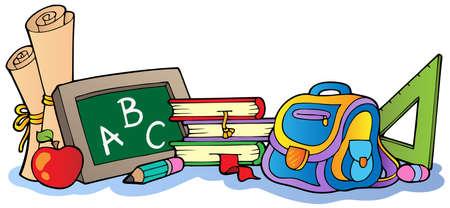 schulklasse: Verschiedene Schulbedarf 1 Illustration