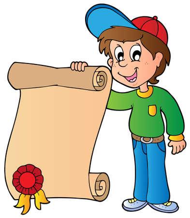 educative: Boy holding diploma - vector illustration.