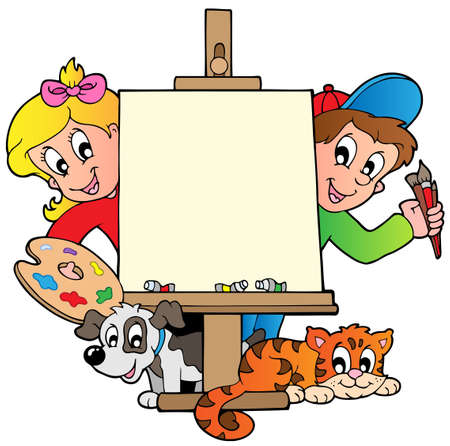 schoolboys: Cartoon kids with painting canvas - vector illustration.
