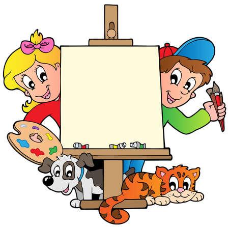 Niños de dibujos animados con lienzo de pintura - ilustración vectorial.